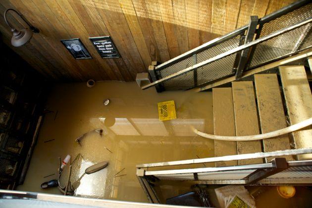 Calgary Flood, Mission Wurst Pub downtown Calgary Flood Aftermath, Flood Update photos