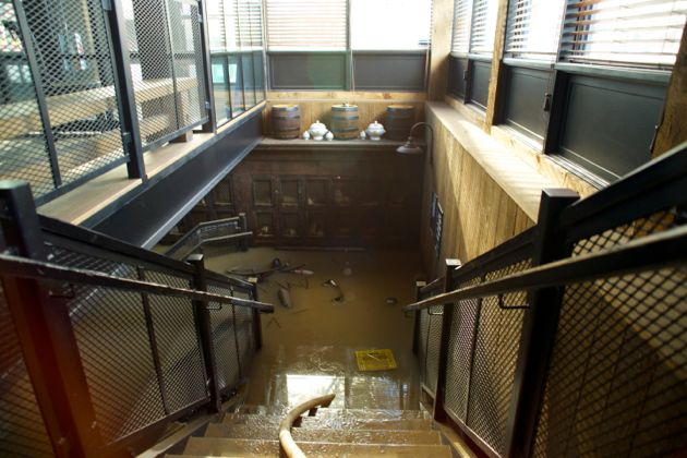 Flooded Stairwell of Wurst Pub in Calgary - flood Aftermath