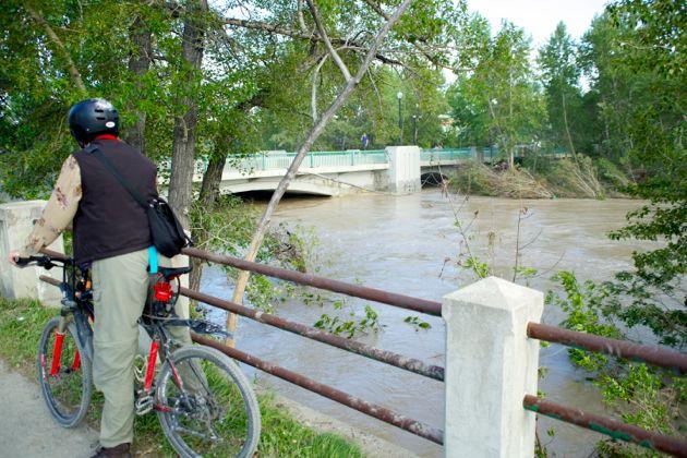 Roxboro Elbow River Bridge - Calgary Flood - High Water level - Debris downtown Calgary
