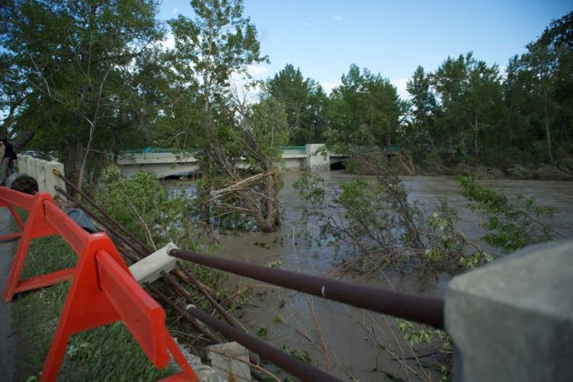 Rail destroyed from crashing debris in the Elbow River flood - downtown Calgary