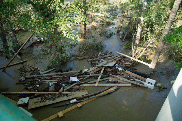 Debris filled Elbow River - Downtown Calgary Flood
