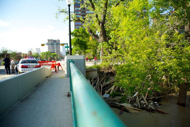 Pile of debris along the river bank - Elbow Drive - Calgary flood